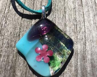 Pretty and unique handmade fused glass pendant