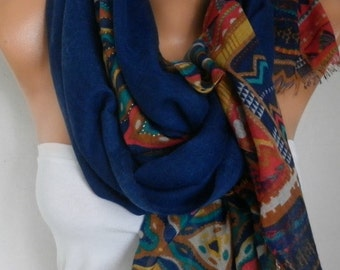 Royal Blue Cotton Scarf,Tribal Shawl,Bohemian Cowl Oversized Wrap Bridesmaid Gift Gift Ideas For Her Women Fashion Accessories Women Scarves