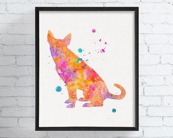 Carolina Dog Art Print, Watercolor Carolina Dog, Carolina Dog Painting, American Dingo Wall Art, Dog Gifts,  Art, Animal Painting, Framed