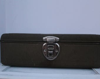 Vintage Tackle Box, Vintage Metal Tackle Box With Ruler On The Lid
