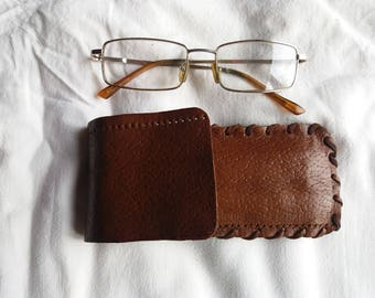 Vintage Handmade Dark Yellow Leather Glasses Case