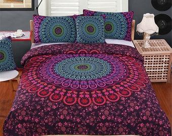 Mandala Bedding Set,  Mandala Duvet Cover, Purple Mandala Duvet Cover, Purple Duvet Print, Bedroom Decor, Bedding