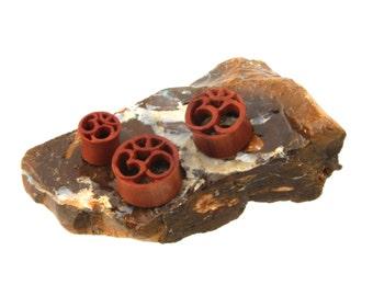 Organic Sawo wood ear plugs - Ohm om symbol - Double flare tunnel Hand Made (NOG-148)