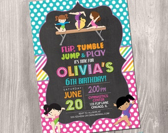 Gymnastics Invitation, Gymnastics birthday invitation, gymnastics party, printable gymnastics invitation, digital, Printable Invitation