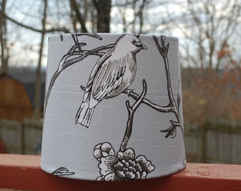Gray, Black and White Bird Branches Lamp Shade