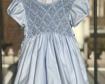 Light blue dress, Hand smocked dress, Hand embroidered dress, Party dress, Girls dress, Size 1-2 years
