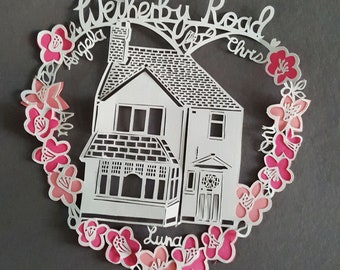 House Paper cut -  Custom House Portrait - Personalised House Paper Cut - personalised house gift - Gift For Dad -  House Gift For Husband