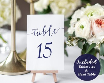 Navy Table Number Printable PDF - Set of 1-40 - 4x6 inches - Nautical Table Numbers - Wedding Printables - Table cards - 4x6inches -#GD0907