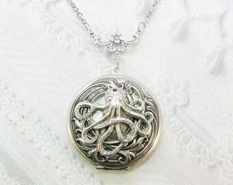Silver Locket Necklace- The ORIGINAL Silver  OCTOPUS LOCKET  - by BirdzNbeez - Mother's Day Wedding Birthday Bridesmaids Gift