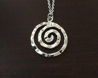 spiral, spiral necklace, spiral pendant, spiral jewelry, unique necklace, unique jewelry, unique pendants, silver necklace, necklace