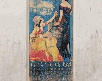 Granada-Vintage Poster Spain//Transfer on wood, vintage decoration, decoration on wood, home decor, wall decoration, decoration for vans