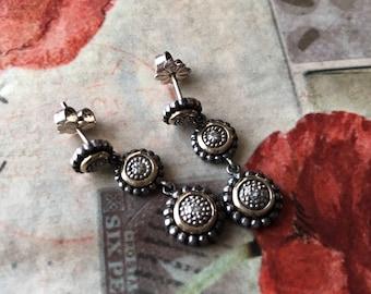 Beautiful Sterling Silver/Gold Earrings