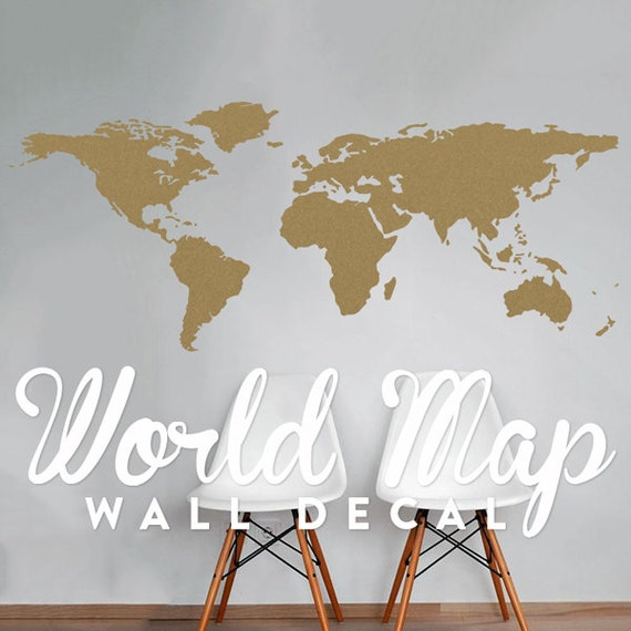 World map wall decal travel wall decor map wall sticker like this item gumiabroncs Images