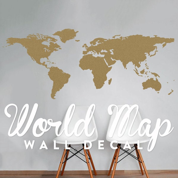 World map wall decal travel wall decor map wall sticker zoom gumiabroncs Images