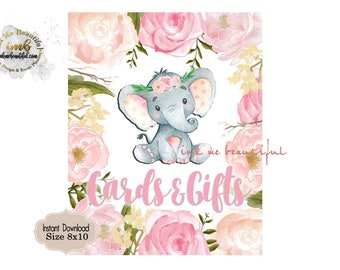Cards and Gifts Sign 8X10, Baby Shower, Birthday Party, Blush Pink,Elephant, Flowers,