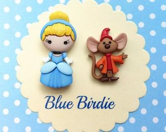 Cinderella brooch set Disney jewelry Disney jewellery Cinderella jewelry Disney brooch Disney Cinderella and jaq brooch Cinderella gifts