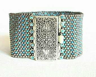 teal and silver beaded cuff silver beaded bracelet silver and teal bracelet bead cuff seed bead bracelet boho bracelet tribal silver cuff
