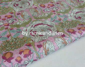 "SILKY fine cotton fabric,  cotton lawn, top quality floral print cotton fabric, one yard by 56"" wide"