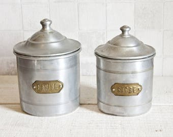 Set of 2 Authentic Vintage Aluminum Canisters    Vintage French Box Kitchenware - Home Decor Box - Industrial Style