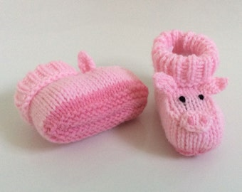 Pig baby booties knitting pattern animal baby boots shoes socks boy baby girl baby slippers winter gift