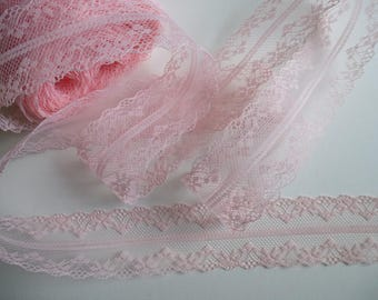 Pale pink lace trim ribbon. Double edged lace.   Sewing accessories, wedding supplies    4cm wide
