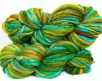 Handspun Yarn handyed fine Polwarth  wool thick and thin bulky single