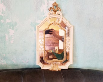 Vintage Ornate Gold White Euromarchi Wall Mirror