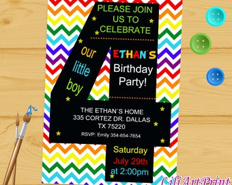 4th birthday invite etsy rainbow 4th birthday invitation third birthday boy or girl boy birthday invitation baby bookmarktalkfo