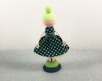 Customizable Girl Wooden Clothespin Doll- Navy/Lime Dot Dress