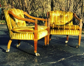 Vintage Mid Century Regency Chairs-a pair