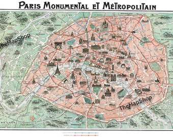 Paris Street Map - Vintage Map - Paris