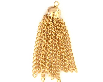 4x Gold Plated Chain Tassels - M020