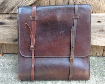 Chocolate Brown Leather Backpack Messenger Tote Attache Three Fold Flap