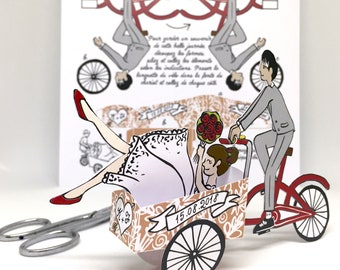 Set of 20 wedding gifts, groom, gifts for guests bicycle papertoy