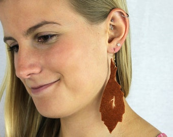 Rust Leather Leaf Earrings