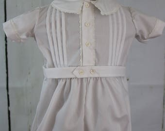 Christening Romper, Boys, new born to 6 months , Heirloom, White, Wedding