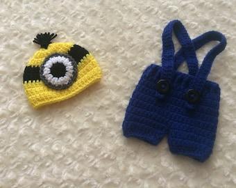 Crochet Newborn Minion Overalls - MADE TO ORDER - Dark Blue