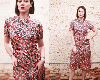 Vintage 1940s 50s xs small red white blue novelty print dress / as is wounded bird / scalloped collar