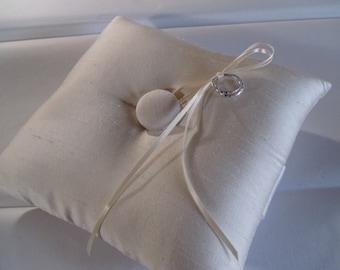 Basic Elegance Silk Shantung Ring Bearer Pillow  Ivory or White