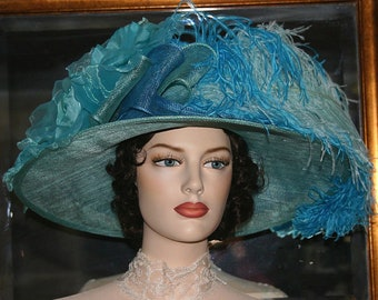 Blue Green Kentucky Derby Hat, Edwardian Downton Abbey Hat, Titanic Hat, Ascot Hat - Kentucky Bluegrass
