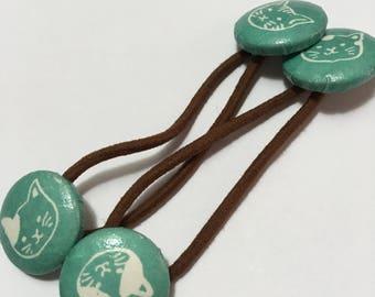Handmade baby, toddler, girls velvet covered button 2 Ponytail holders(cats)