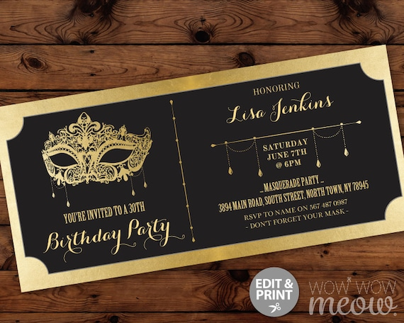 Masquerade Birthday Party Ticket Invitation Gold Mask Invite