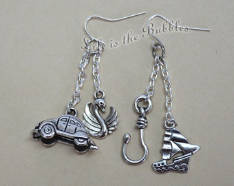 Once Upon a Time Captain Swan Earrings with a Pirate Ship, Hook, Swan and VW Bug Car Charm, Once Upon a Time Cosplay Disney Bound