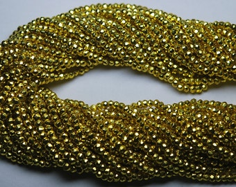 Full 13 inch Strand,AAA Quality,Mystic Golden Pyrite Faceted Rondelles,Full Strand, 3.5mm size,