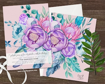 PRINTED Adult Birthday Invitation, Floral Birthday Invitation, Floral Invitation, Purple, Pink, Modern Watercolor Flower Birthday Invite
