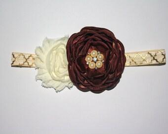 Vintage Satin Cream & Brown Headband