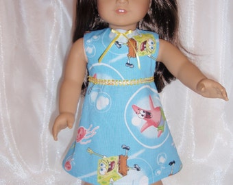 "18 Inch Doll Sponge Bob Print Sleeveless A-Line Dress, 18"" Doll Clothes, AG Doll Clothes, Girl Doll Clothes"