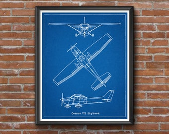 Cessna 172 Blueprint, Cessna 172 Skyhawk, Instant Download, Cessna Skyhawk, Blueprints, Aircraft Blueprint, Cessna 172, Cessna Gift, 8x10
