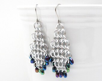 Beaded chainmail earrings, blue iris beads and silver earrings, European 4 in 1 weave chainmail jewelry, tear drop shaped