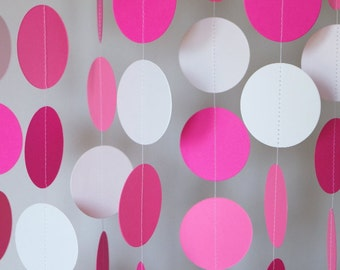 Pink and White Garland, Valentine Party Decoration, Paper Garland, Circle Garland, Girl's Birthday Party Decor, Hot Pink, 10 ft. long
